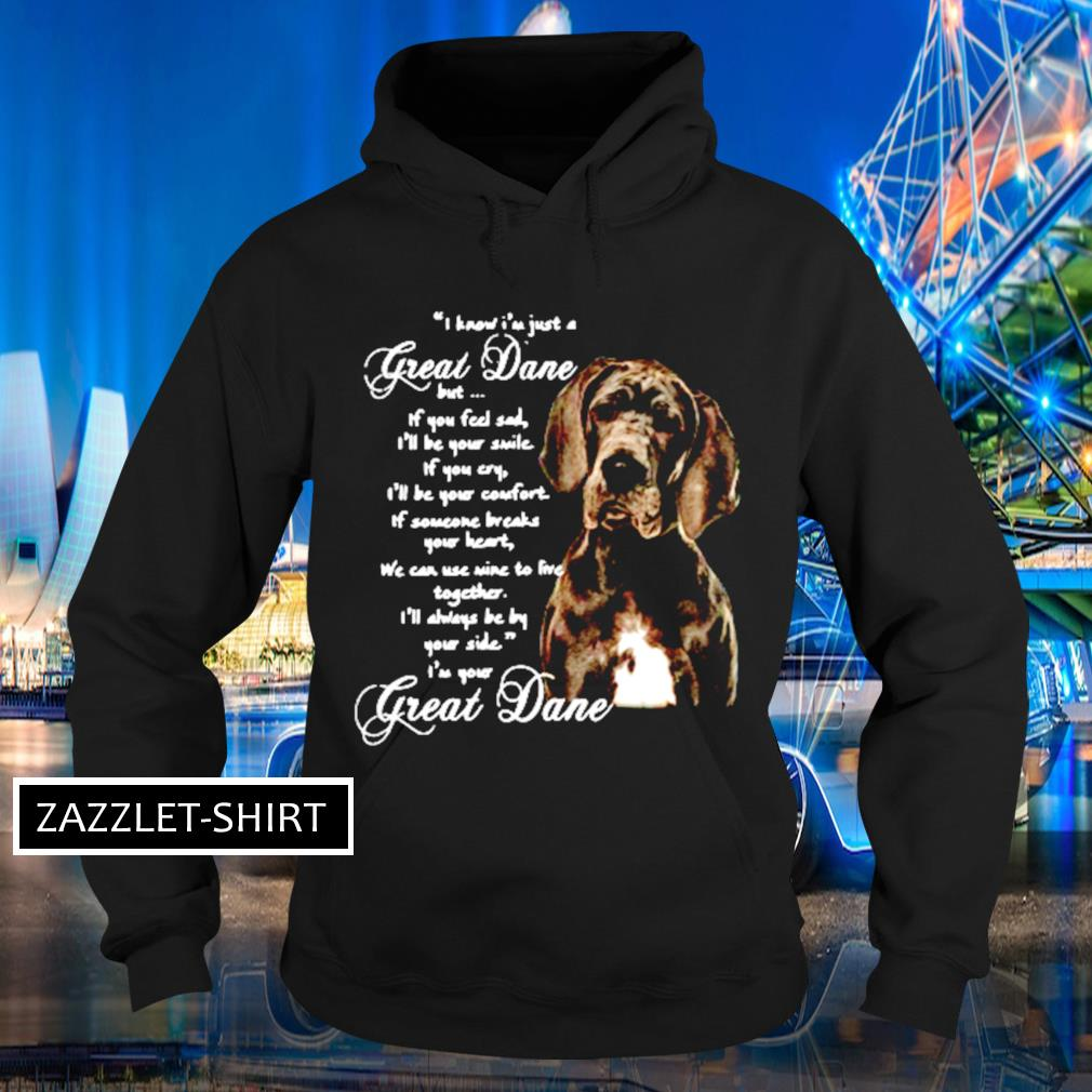 I know I'm just a great dane but If you feel sad I'll be your smile If you cry s Hoodie