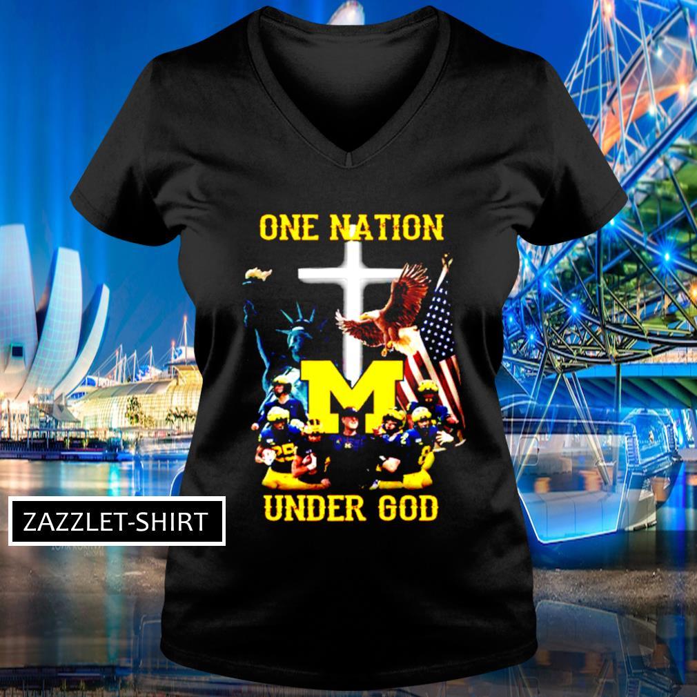 Michigan Wolverines one nation under God s V-neck t-shirt